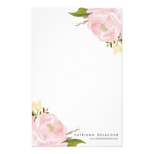 Pink Hand Drawn Watercolor Peonies Stationery