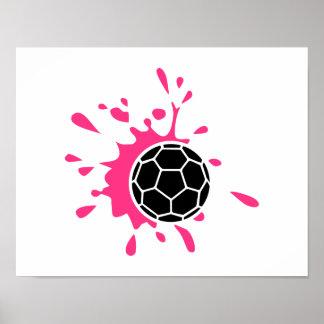 Pink handball splash poster