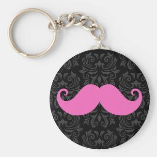 Pink handlebar mustache on black damask pattern basic round button key ring