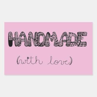 Pink Handmade With Love Doodle Art Rectangular Sticker