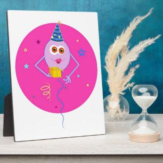 Pink Happy Birthday Balloons Plaque