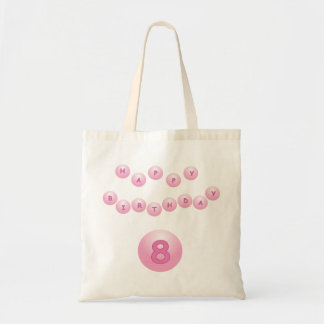 Pink Happy Birthday Balls Age 8 Budget Tote Bag
