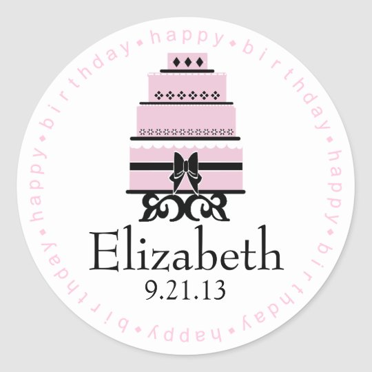 Pink Happy Birthday Cake Round Sticker