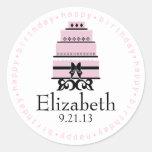 Pink Happy Birthday Cake Round Stickers