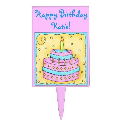 Pink Happy Birthday Cake Topper