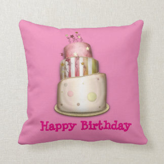 "Pink ""Happy Birthday"" Pillow with Cake"