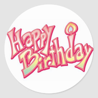 pink happy birthday stickers for girls