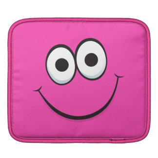 Pink happy cartoon smiley face funny iPad sleeve