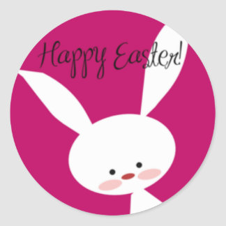 Pink Happy Easter Bunny Classic Round Sticker