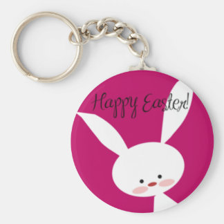 Pink Happy Easter Bunny Key Ring