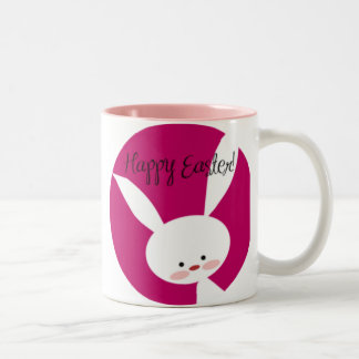 Pink Happy Easter Bunny Two-Tone Coffee Mug