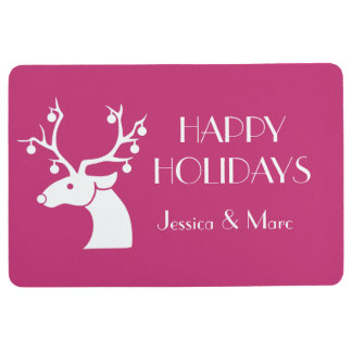 Pink HAPPY HOLIDAYS Christmas Reindeer Name Floor Mat