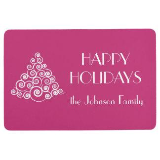 Pink HAPPY HOLIDAYS Christmas Tree Name Floor Mat