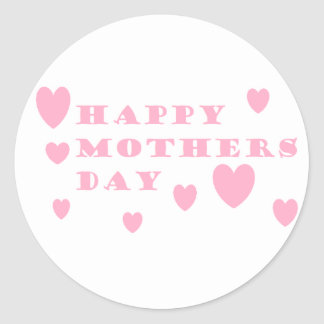 Pink Happy Mothers Day Classic Round Sticker