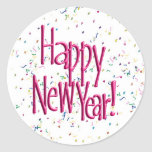 Pink HAPPY NEW YEAR! Text Image Round Sticker