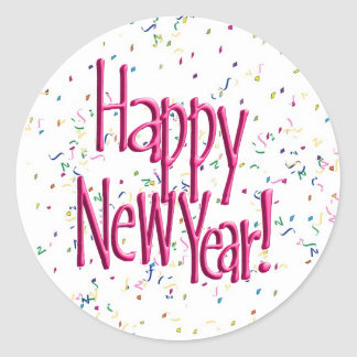 Pink HAPPY NEW YEAR! Text Image Round Sticker