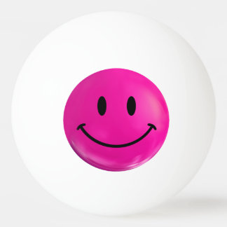 Pink Happy Smiley Ping Pong Ball