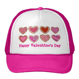 Pink Happy Valentine's Day Heart Hearts Cookie Hat