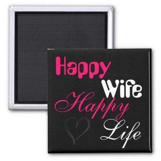 Pink Happy Wife Happy Life Magnet