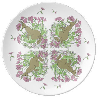 Pink Hare Porcelein Plate