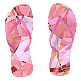 Pink harlequin flip flops