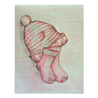 pink hat and socks 4.25x5.5 paper invitation card
