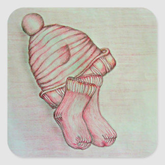 pink hat and socks square sticker
