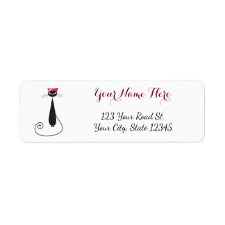 Pink Hat Kitty Cat Return Address Label
