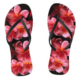 Pink Hawaiian Flowers Flip Flops