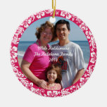 Pink Hawaiian Hibiscus Christmas Photo Ornament