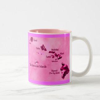 Pink Hawaiian island map Two-Tone Mug