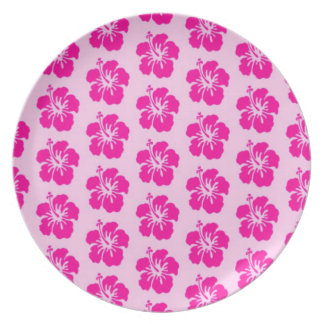 Pink Hawaiian Melamine Plate