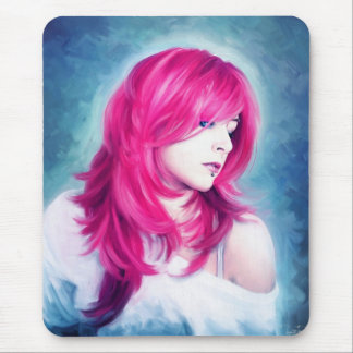 Pink Head sensual  lady oil portrait painting Mouse Pad