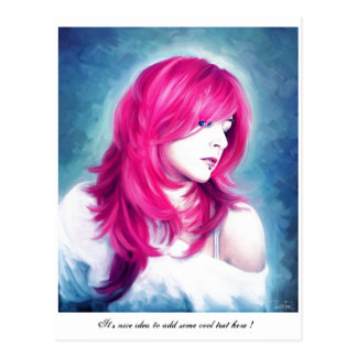 Pink Head sensual  lady oil portrait painting Postcard
