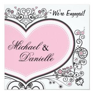 Pink Heart 13 Cm X 13 Cm Square Invitation Card