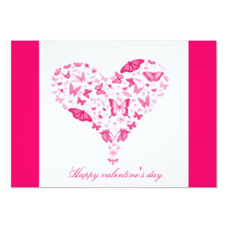 pink heart 13 cm x 18 cm invitation card