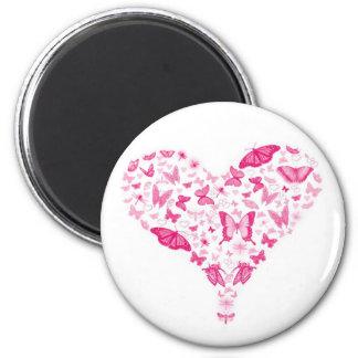 pink heart 6 cm round magnet