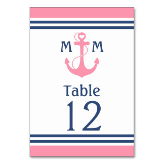Pink Heart Anchor Nautical Table Number