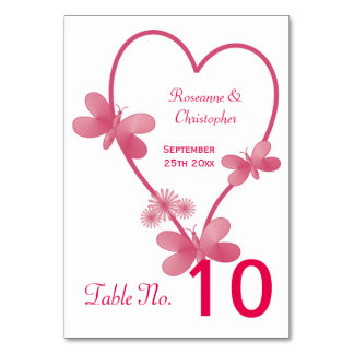 Pink Heart And Butterflies Wedding Table Setting Table Cards