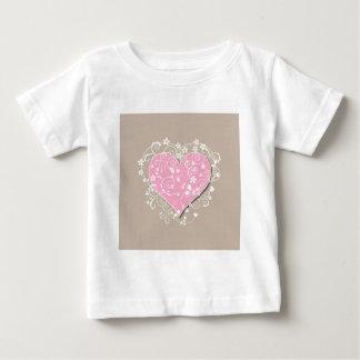 Pink heart and cream florals on beige wedding shirts