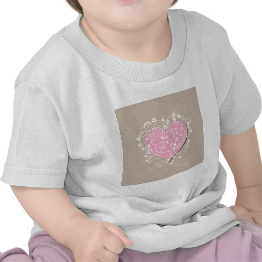 Pink heart and cream florals on beige wedding t shirts