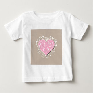 Pink heart and cream florals on beige wedding t shirt