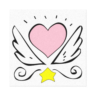 Pink Heart And Wings Stretched Canvas Print