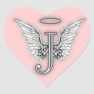 Pink Heart Angel Wings Monogram Heart Sticker