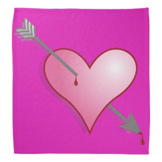 Pink Heart Arrow Pink Bandana