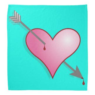 Pink Heart Arrow Turquoise Bandana