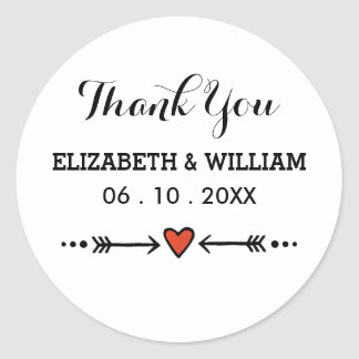 Pink Heart Arrows White Wedding Thank You Stickers