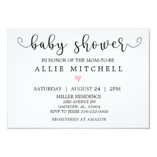 Pink Heart Baby Shower Invitation