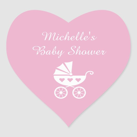 Pink heart baby shower stickers with carriage pram
