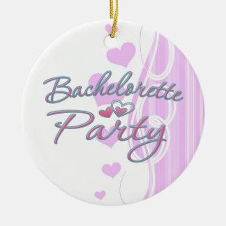 pink heart bachelorette party bridal shower christmas ornament